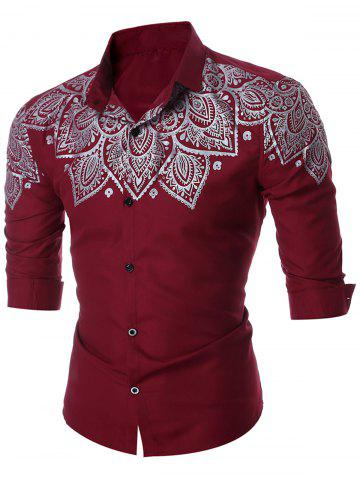 Discount Slim Fit Printed Long Sleeve Shirt - L WINE RED Mobile