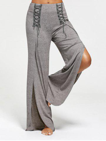 Discount Lace Ups Embellished High Slit Palazzo Pants GRAY S