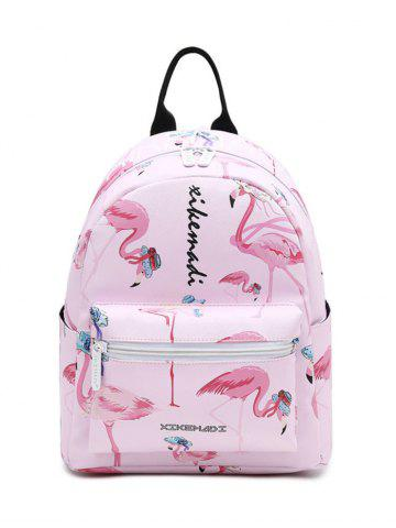 Fancy Flamingo Print Faux Leather Backpack - PINK  Mobile