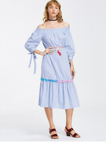 Outfit Off Shoulder Stripes Bow Sleeve Midi Dress - XL STRIPE Mobile