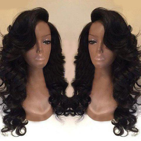 Chic Deep Side Part Long Body Wave Synthetic Wig - BLACK  Mobile