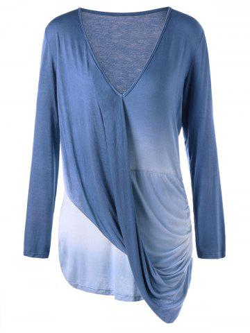 Latest Plus Size Long Sleeve Ombre Draped Top