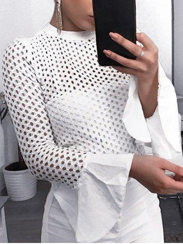 High Neck Flare Sleeve Fishnet Top