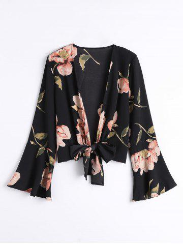 Store Floral Flare Sleeve Bowknot Blouse
