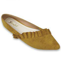 Flounce Faux Suede Point Toe Flats -