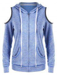 Zip Up Open Shoulder Hoodie