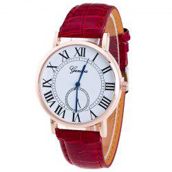 Faux Leather Strap Roman Numerals Analog Watch