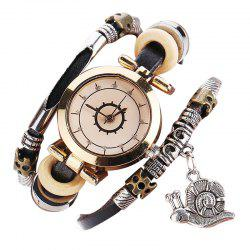 Snail Charm Rhinestone Layered Bracelet Watch