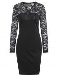 V Neck Lace Trim Long Sleeve Bodycon Dress - BLACK