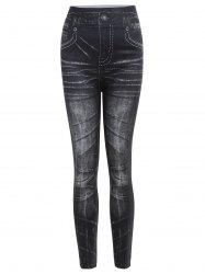 Vintage Mid-Waisted Slimming Tattoo Graffiti Women's Jean Leggings - BLACK