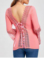 Lace Panel Bell Sleeve Bowknot Back Tee