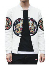 Chinoiserie Graphic Embroidered Stand Collar Jacket