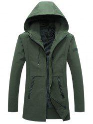 Zip Up PU Insert Printed Hooded Jacket - ARMY GREEN