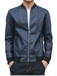 Faux Leather Stand Collar Zip Up Jacket