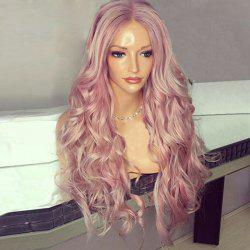 Long Center Parting Shaggy Wavy Synthetic Wig - PINK