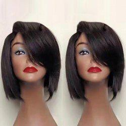 Deep Side Short Straight Bob Synthetic Wig - BLACK