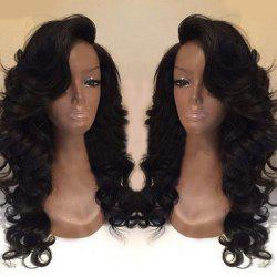 Deep Side Part Long Body Wave Synthetic Wig - BLACK