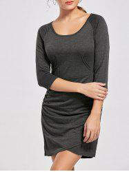 Ruched Raglan Sleeve Mini Bodycon Dress