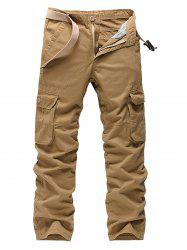 Pockets Zipper Fly Straight Leg Cargo Pants