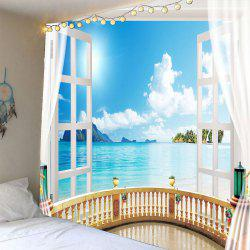 Window Seascape Waterproof Wall Tapestry - LIGHT BLUE