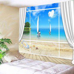 Window Beach Boat Print Tapestry Wall Hanging Art Decoration