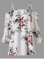 Plus Size Flounce Floral Cold Shoulder Top