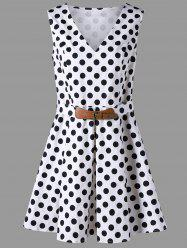 Plus Size Polka Dot Belted Sleeveless Dress