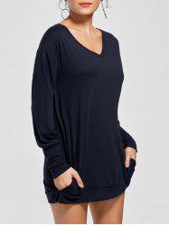 Long Sleeve Short Tunic T-shirt Dress - DEEP BLUE