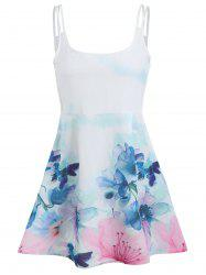 Tied Spaghetti Strap Floral A Line Dress