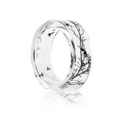 Tree Branch Bird Transparent Resin Ring - TRANSPARENT