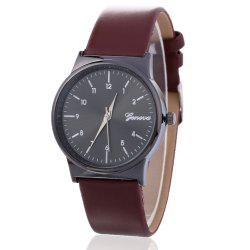 Faux Leather Strap Number Round Shape Watch