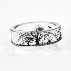 Transparent Tree of Life Bat Resin Ring - TRANSPARENT