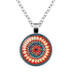 Faux Gem Bohemian Flower Pendant Necklace - Orange