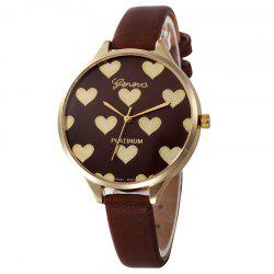 Faux Leather Strap Heart Face Watch