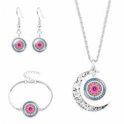 Flower Moon Necklace Bracelet and Earring Set