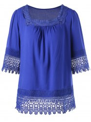 Square Neck Lace Insert Tunic Top