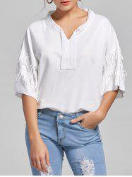 V-neck Fringe Lace Panel Top