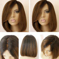 Short Side Part Dark Root Colormix Straight Bob Synthetic Wig - BLACK AND BROWN