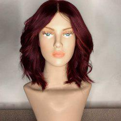 Center Part Medium Shaggy Wavy Synthetic Wig - WINE RED