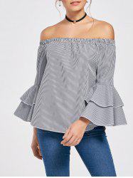 Off The Shoulder Flare Sleeve Flounce Plaid Top
