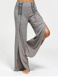 Lace Ups Embellished High Slit Palazzo Pants - GRAY