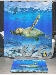 Sea World Turtle Printed Shower Curtain and Rug
