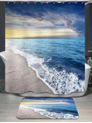 Sea Tides Printed Shower Curtain and Rug - BLUE