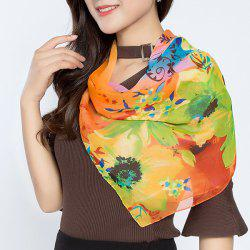 Flower Splash Ink Print Chiffon Square Scarf -