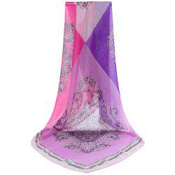 Arab Print Color Block Chiffon Square Scarf