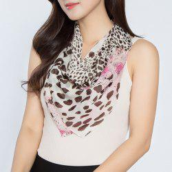 Cheetah Print Color Block Chiffon Square Scarf - Blanc