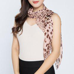 Cheetah Print Color Block Chiffon Square Scarf - PINK