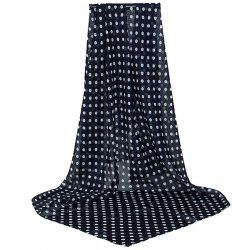 Full Polka Dot Print Chiffon Square Scarf - BLACK