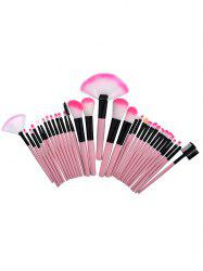 32Pcs Ensemble de brosses de maquillage de beauté en tube d'aluminium - ROSE PÂLE