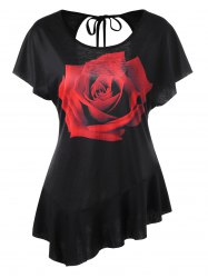 Asymmetrical Rose Cut Out T-shirt - BLACK